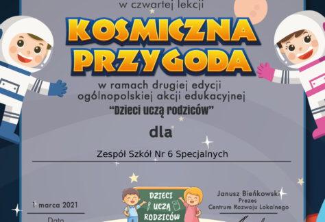 """Kosmiczna Przygoda – czwarta lekcja ogólnopolskiej akcji """"Dzieci uczą rodziców"""""""